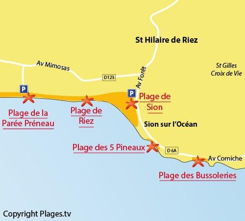 Map of Parée Préneau Beach in St Hilaire de Riez