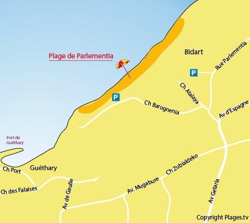 Carte de la plage de Parlementia à Bidart