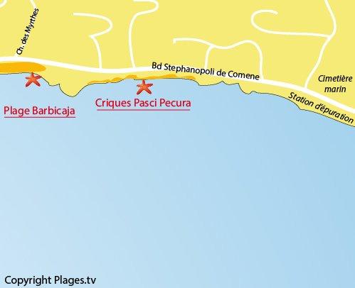 Mappa spiaggia di Pasci Pecura - Ajaccio - Corsica