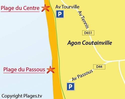 Carte de la plage du Passous à Coutainville