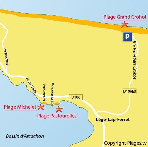 Plan de la plage des Pastourelles au Cap Ferret