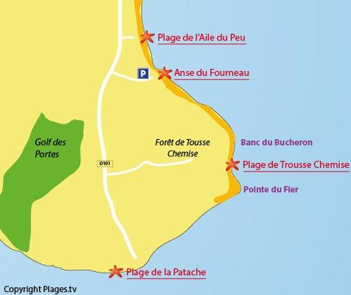 Carte de la plage de la Patache sur l'ile de Ré