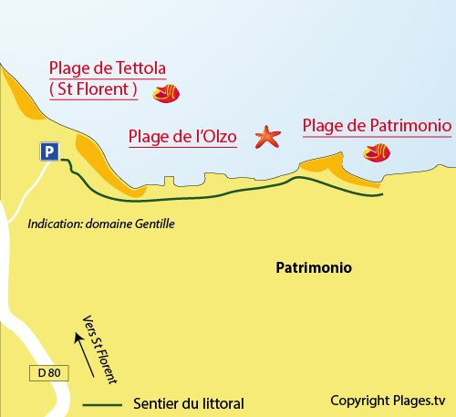 Mappa della Spiaggia di Patrimonio in Corsica