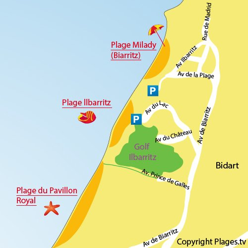 Map of Pavillon Royal Beach in Bidart