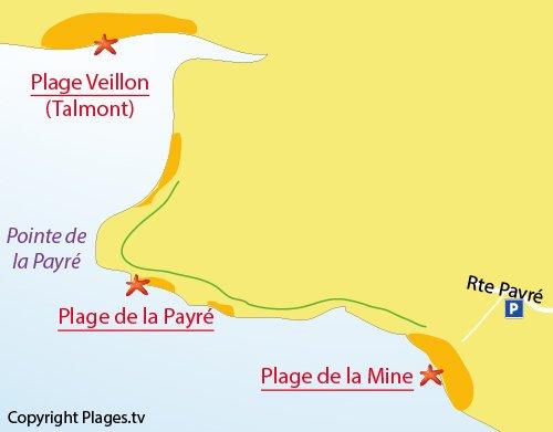 Plan des criques autour de la pointe du Payré - Jard sur Mer
