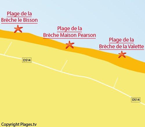 Carte de la plage de Pearson à Graye sur Mer