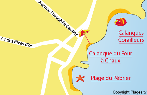 Map of the Pébrier Beach in Saint Aygulf