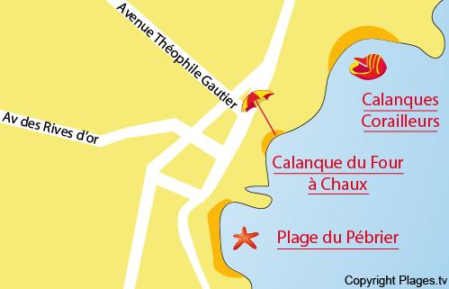 Carte plage du Pébrier à Saint Aygulf