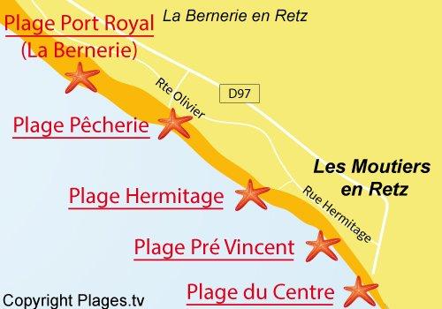 Carte de la plage de la Pêcherie à Les Moutiers en Retz