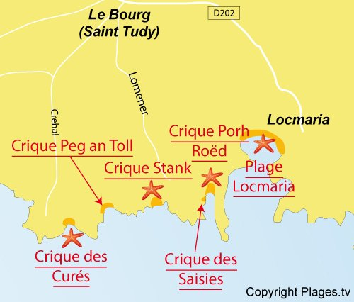 Map of Peg an Toll Coves - island of Groix