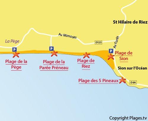 Carte de la plage de la Pège à St hilaire de Riez