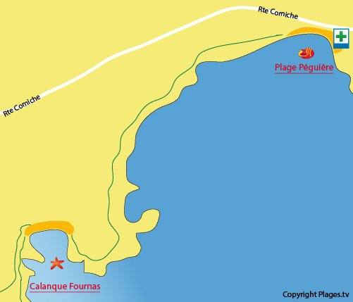 Map of Péguière Beach in St Raphaël