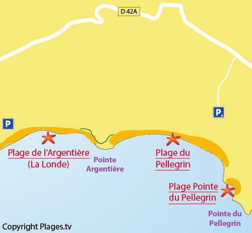 Map of the Pellegrin Beach in Bormes les Mimosas - France