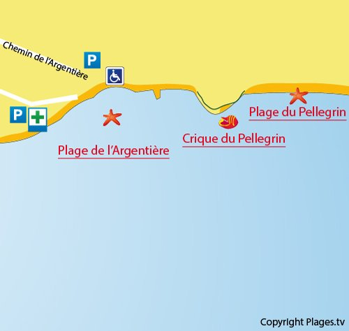 Map of Pellegrin Beach in La Londe les Maures