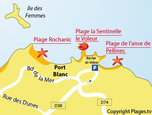 Plan de la plage de Pellinec à Port Blanc