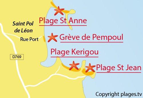 Carte de la plage de Pempoul à St Pol de Léon