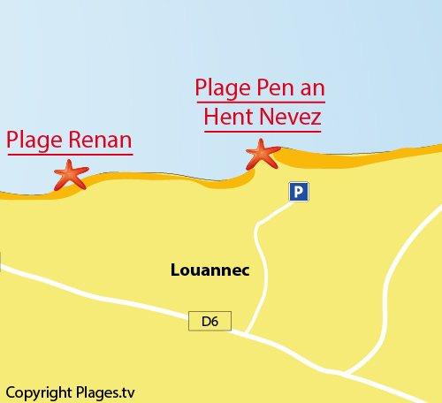 Carte de Pen an Hent Nevez à Louannec