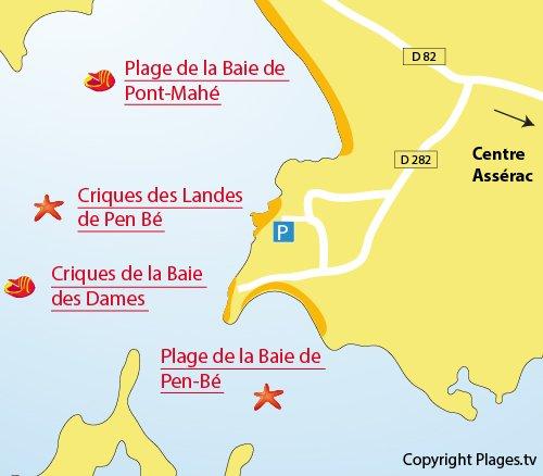 Map of Pen-Bé Beach in Assérac