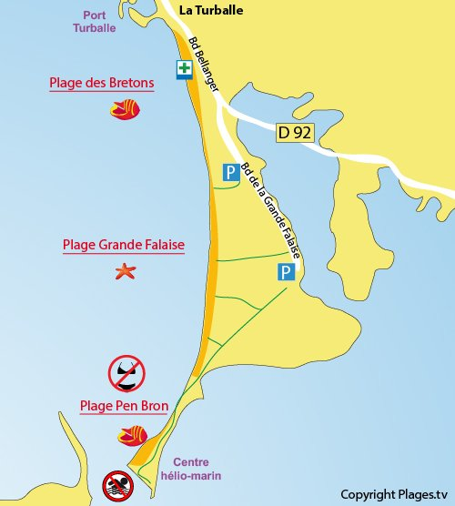 Map of Pen Bron Naturist Beach in La Turballe