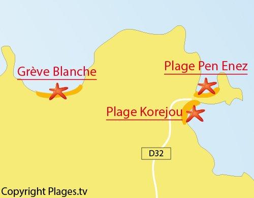 Carte de la plage de Pen Enez à Plouguerneau