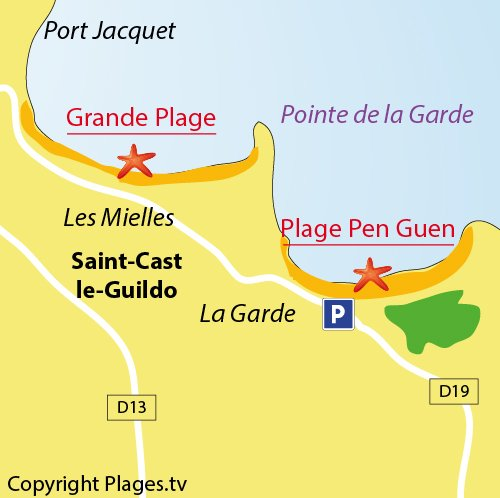 Map of Pen-Guen Beach in Saint Cast le Guildo