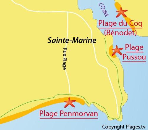 Carte de la plage de Pen Morvan à Sainte Marine - Combrit