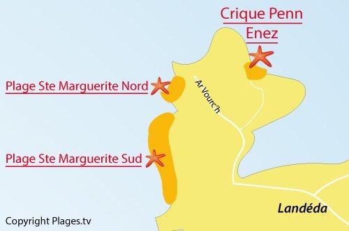 Carte de la plage de Penn Enez à Landéda