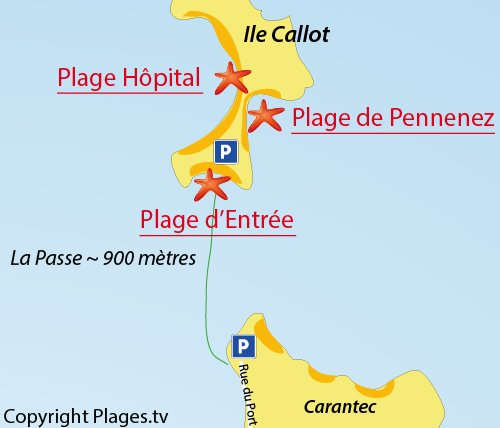 Map of Pennenez Beach - Callot island