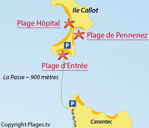 Map of Pennenez Beach - Callot island