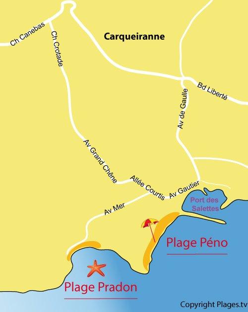 Map of Peno Beach in Carqueiranne