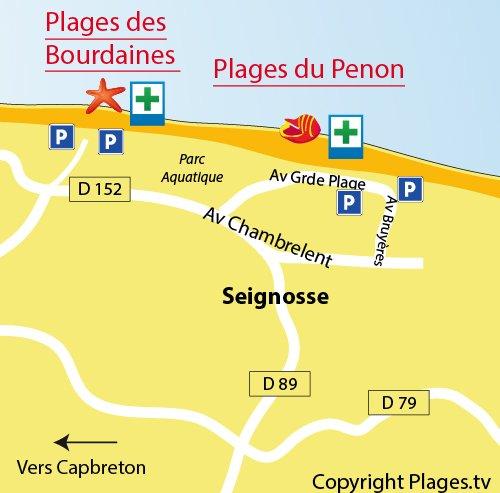 Carte de la plage du Penon à Seignosse