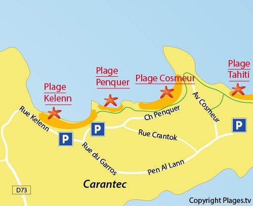 Carte de la plage de Penquer à Carantec