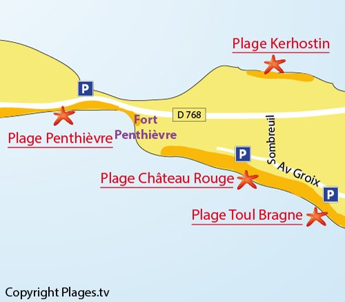 Map of Penthievre Beach in St Pierre de Quiberon