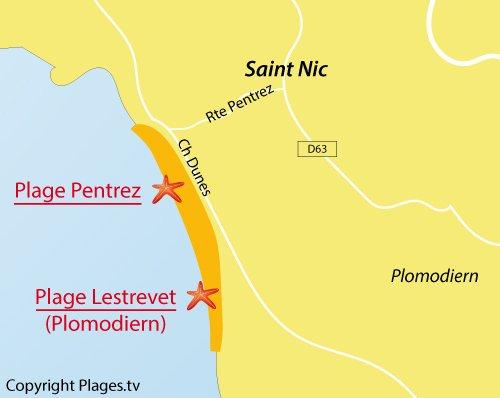 Carte de la plage de Pentrez à Saint Nic - Bretagne