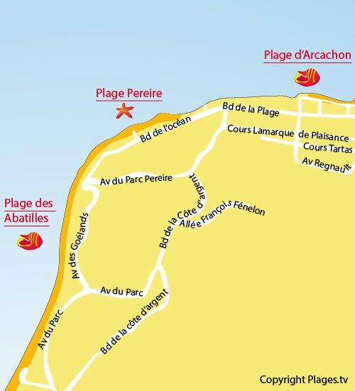 Plan de la plage de Péreire d'Arcachon