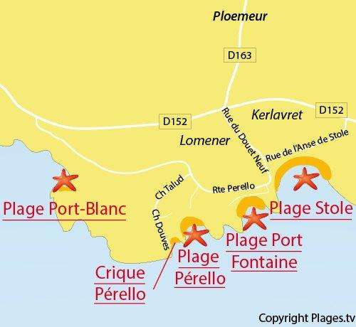 Carte de la plage de Pérello à Plomeur