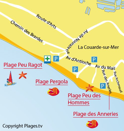 Map of Pergola Beach in La Couarde sur Mer