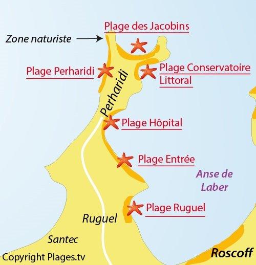 Map of Perharidi Beach in Roscoff