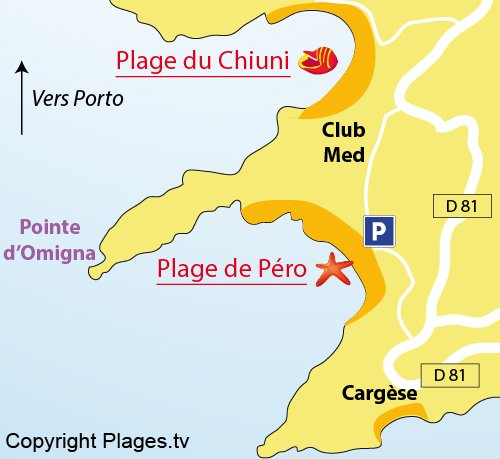 Map of Pero Beach in Cargèse (Corsica)