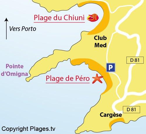 Map of Pero Beach in Cargèse (Corsica)