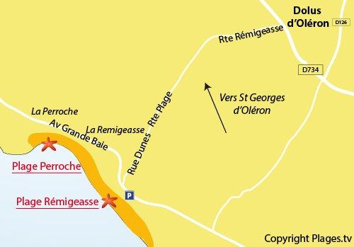 Plan de la plage de Perroche à Dolus d'Oléron
