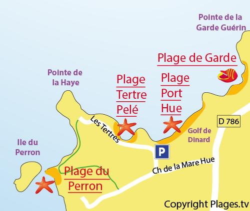 Carte de la plage du Perron à Saint Briac sur Mer