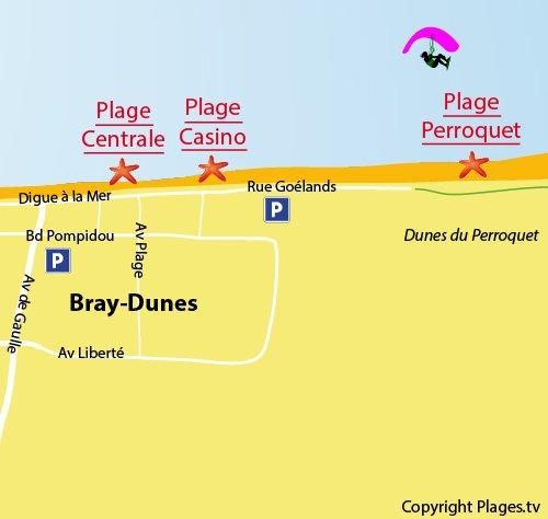 Plan de la plage du Perroquet à Bray Dunes