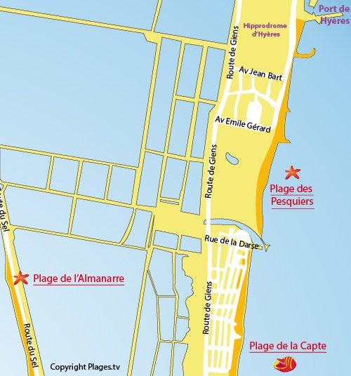 Mappa della Spiaggia Pesquiers a Hyères