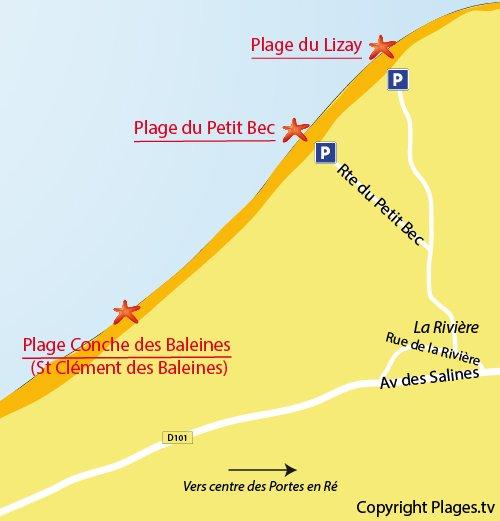 Plan de la plage du Petit Bec sur l'ile de Ré (Les Portes en Ré)