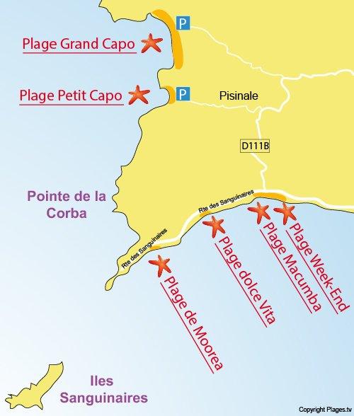 Carte de la plage du Petit Capo à Ajaccio