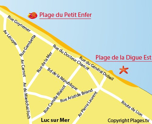 Map of Petit Enfer beach in Luc sur Mer