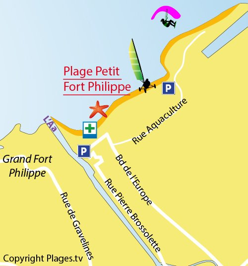 Map of Philippe Petit Fort Beach - Gravelines
