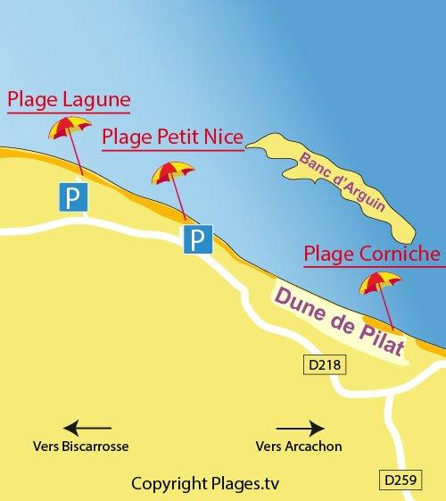 Carte de la plage du Petit Nice à Pyla sur Mer