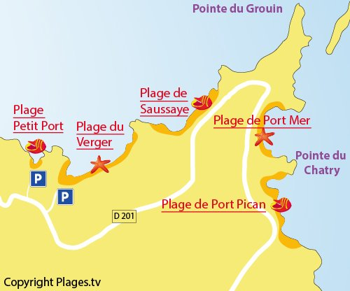 Map of Petit Port Beach in Cancale